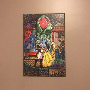 Beauty and the Beast Stained Glass Wall Art